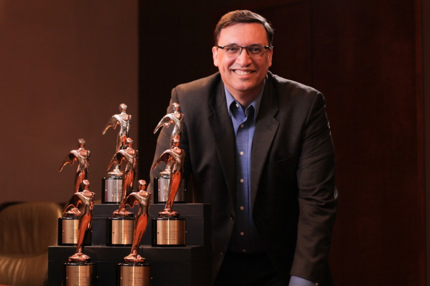 CBL Vice President of Marking David Burrows pictured with the company's seven Telly Awards