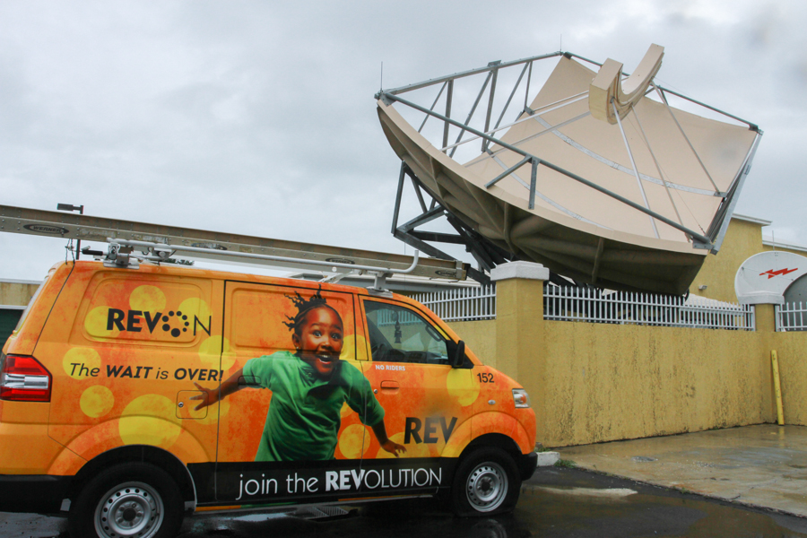 The new Simulsat 7 Multibeam Antenna recently erected at Cable Bahamas's technical facility on Robinson Road in Nassau